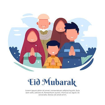 Illustrazione di una grande famiglia dicendo felice eid