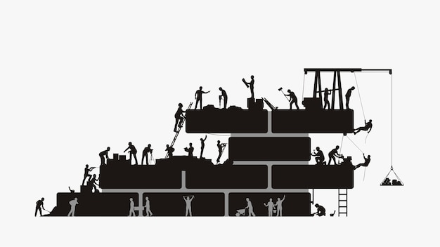 Illustrazione della siluetta del grande gruppo di costruttori che lavora alla costruzione isolata.