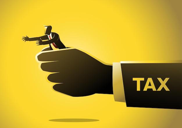 Un'illustrazione della grande tassa della mano tiene un concetto di vettore dell'uomo d'affari