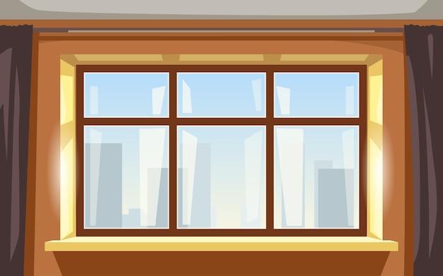 Illustrazione della grande finestra giallo luminoso appartamento interno vista frontale