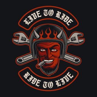 Illustrazione di un diavolo motociclista con un sigaro, motociclista. è perfetto per loghi, modelli di abbigliamento
