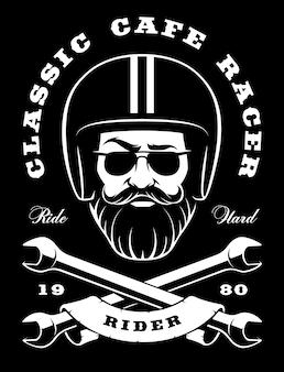 Illustrazione del motociclista-hipster con elegante barba e chiavi incrociate. (versione su sfondo scuro)