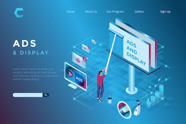 Illustrazione delle pubblicità del tabellone per le affissioni nello stile isometrico 3d