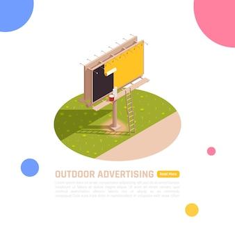 Illustrazione del tabellone per le affissioni, pubblicità esterna