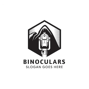 Illustrazione dell'icona del binocolo isolata su fondo bianco. la combinazione di esagono, binocolo e montatura. colore nero del modello di progettazione logo.