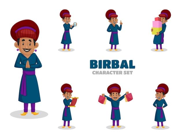 Illustrazione del set di caratteri birbal