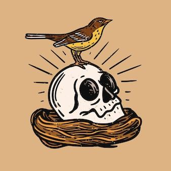 Illustrazione di un uccello su un teschio in un nido di uccello su sfondo marrone