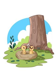 Illustrazione del cinguettio degli uccelli nel nido