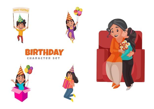Illustrazione del set di caratteri di compleanno