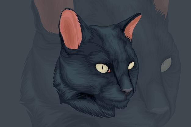 Illustrazione di un gatto nero rivolto di lato Vettore Premium
