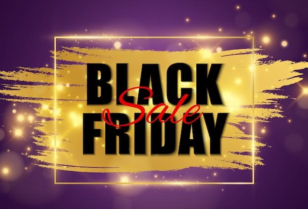 Illustrazione del banner di vendita venerdì nero su sfondo trasparente.