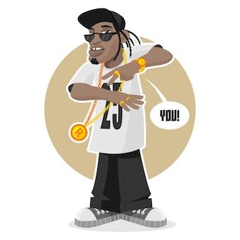 Illustrazione ragazzo nero - rapper, formato eps 10