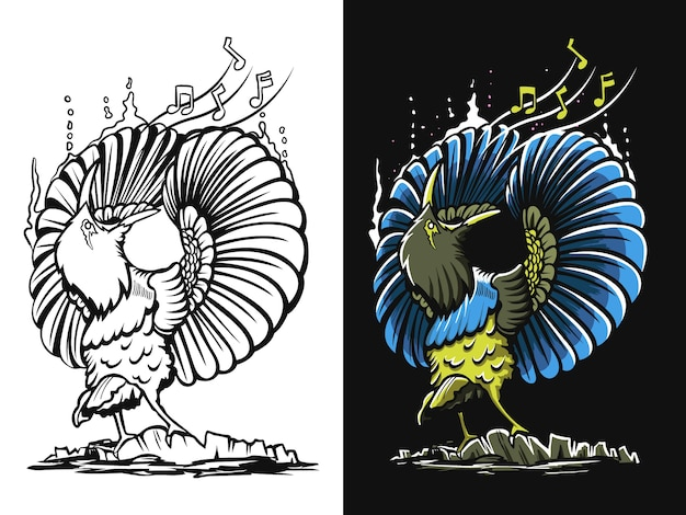 Illustrazione di uccello nero bianco e colorato canto
