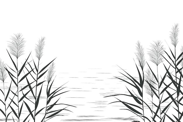 Illustrazione di canne in bianco e nero. sagoma di canna su sfondo bianco.