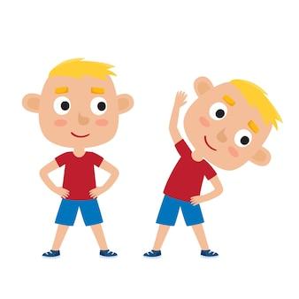 Illustrazione del ragazzo biondo nella posa di esercizio