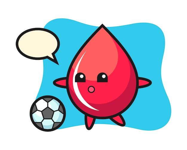 Illustrazione del fumetto di goccia di sangue sta giocando a calcio, stile carino, adesivo, elemento logo