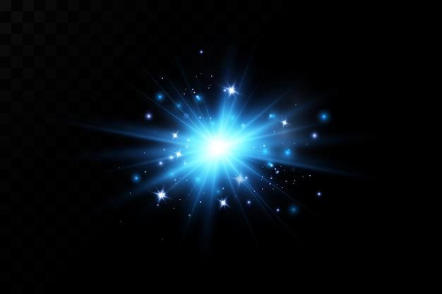 Illustrazione di un colore blu effetto luce bagliore.