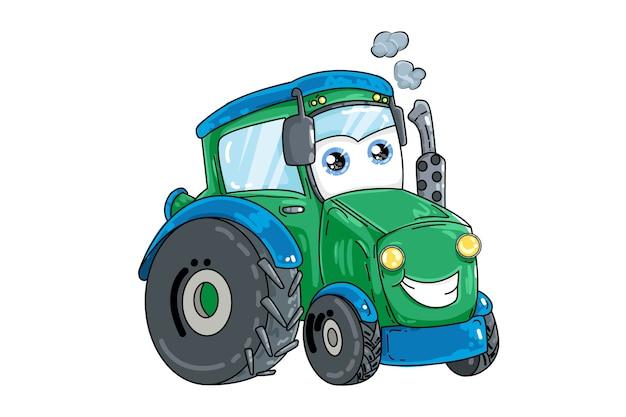 Un'illustrazione del trattore verde blu, trasporto di progettazione