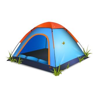 Illustrazione della tenda blu con farfalle ed erba intorno. isolato su bianco