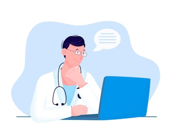 Illustrazione nei toni del blu il medico lavora da casa in linea