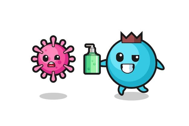 Illustrazione del personaggio di mirtillo che insegue il virus malvagio con disinfettante per le mani, design in stile carino per maglietta, adesivo, elemento logo