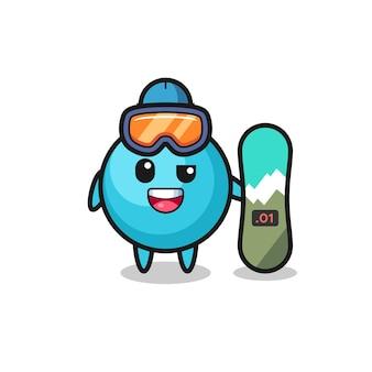 Illustrazione del personaggio di mirtillo con stile snowboard, design in stile carino per maglietta, adesivo, elemento logo