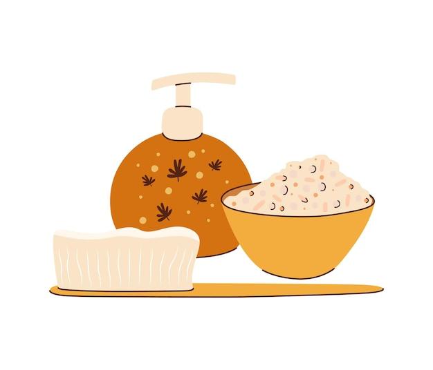 Un'illustrazione di uno scrub per il corpo, una spazzola per lavare i piatti e una lozione