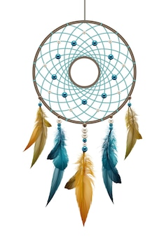 Illustrazione di boho nativi americani fatti a mano dreamcatcher, modello talismano etnico con fili di piume e corda di perline appeso su sfondo bianco