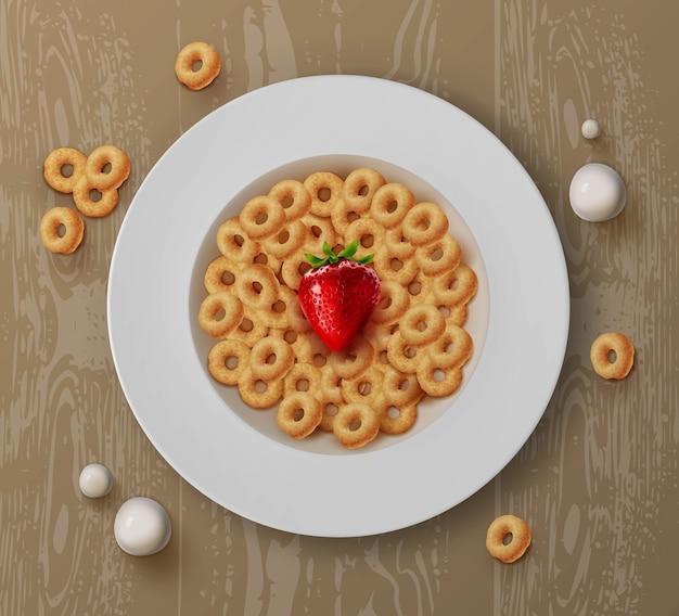 Illustrazione della ciotola con anelli di mais cereali per la colazione e fragole fresche sul tavolo di legno