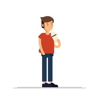 L'illustrazione del ragazzo che si sente felice e beve il frappè. tempo dell'infanzia.