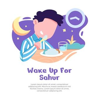 Illustrazione del ragazzo alzarsi all'alba per mangiare sahur