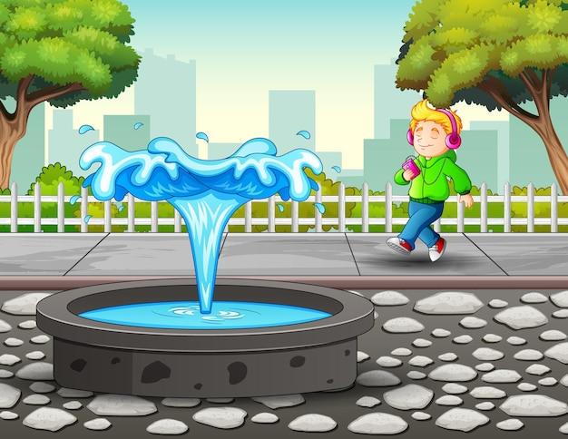 Illustrazione del ragazzo che fa jogging e ascolta la musica