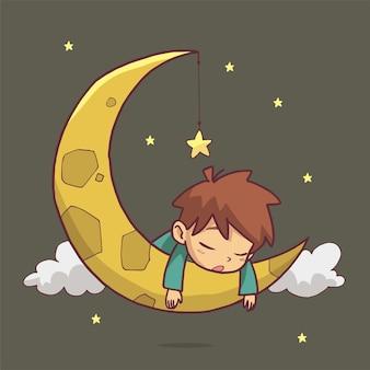 Illustrazione di un ragazzo che dorme sulla luna. arte disegnata a mano