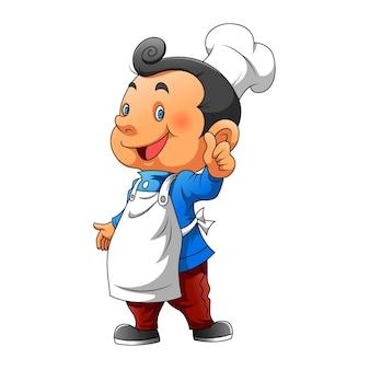 L'illustrazione del ragazzo che usa il cappello da cuoco e il grembiule bianco per l'ispirazione del logo del ristorante