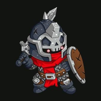 Illustrazione del guerriero coraggioso per il personaggio adesivo tshirt