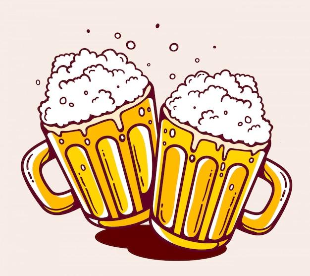 Illustrazione di due tazze di birra luminose su sfondo giallo.