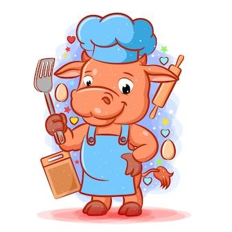 L'illustrazione della mucca marrone del cuoco unico principale che tiene la spatola