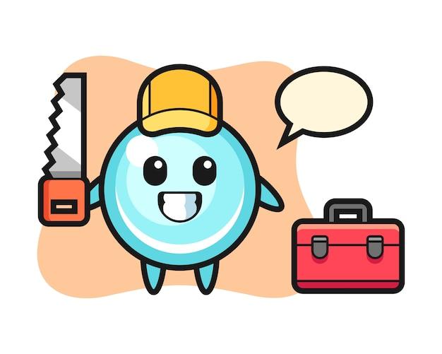 Illustrazione del personaggio bolla come falegname, design carino stile