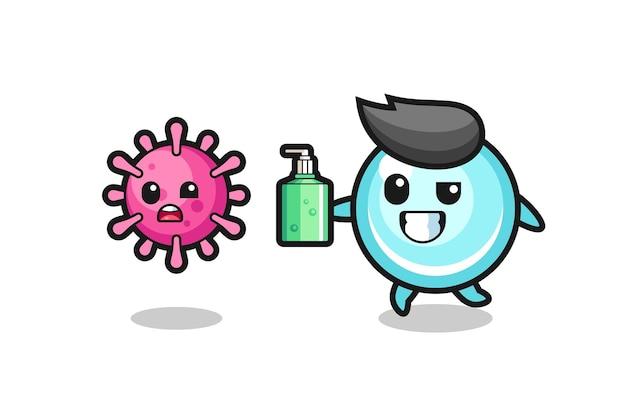 Illustrazione del personaggio della bolla che insegue il virus malvagio con disinfettante per le mani, design in stile carino per maglietta, adesivo, elemento logo