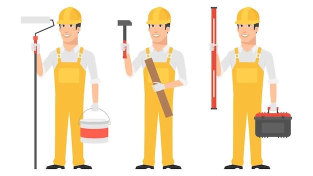 Illustrazione, builder tenendo gli strumenti martello livello del rullo, formato eps 10