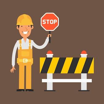 Illustrazione, costruttore che tiene il segnale di stop e sorride, formato eps 10
