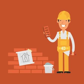 Illustrazione, strumenti di presa del costruttore vicino alla lavagna a fogli mobili, formato eps 10