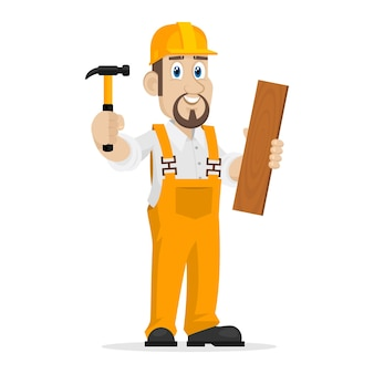 Il costruttore di illustrazioni tiene martello e tavola di legno, formato eps 10