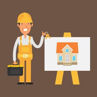 Illustrazione, il costruttore si trova vicino alla lavagna a fogli mobili e tiene le chiavi, formato eps 10