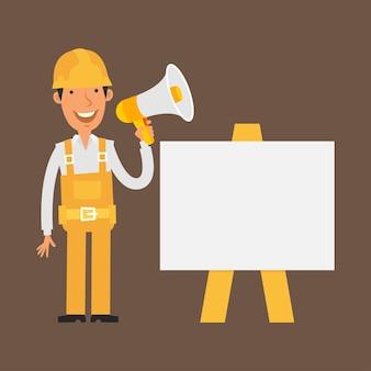 Illustrazione, il costruttore si trova vicino con la lavagna a fogli mobili tiene il megafono, formato eps 10