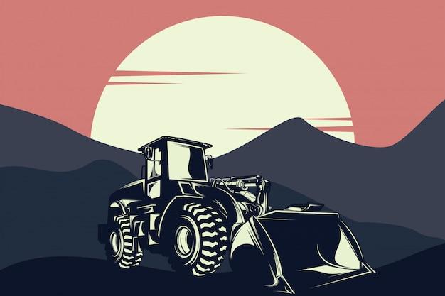 Illustrazione della progettazione grafica del bulldozer su una costruzione