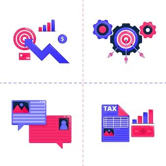 Illustrazione del grafico aziendale, chat bolla e raggiungimento degli obiettivi, strategia di analisi fiscale finanziaria.