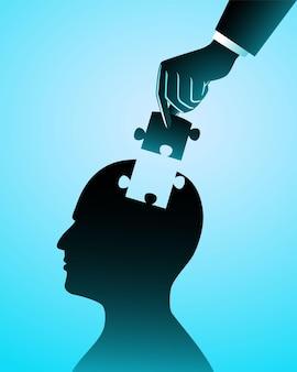 Illustrazione del concetto di business. uomo d'affari che aggiunge l'ultimo pezzo di puzzle in una testa