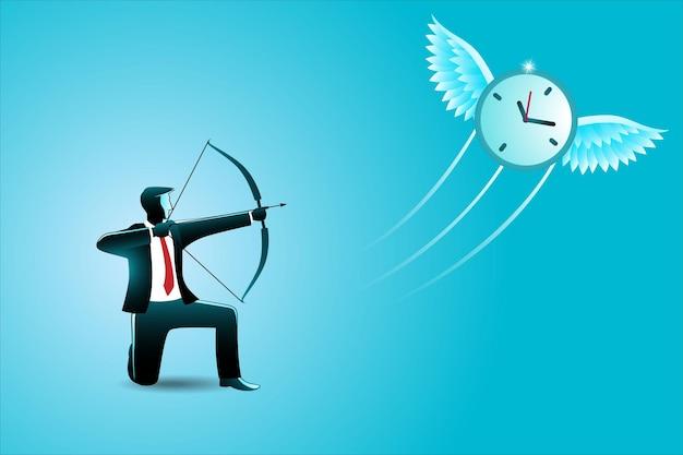 Illustrazione del concetto di business, uomo d'affari che mira un orologio volante con arco e frecce