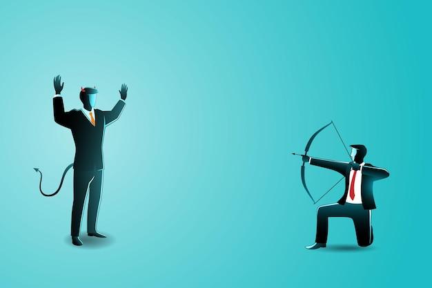 Illustrazione del concetto di business, un uomo d'affari che mira a un altro uomo d'affari male con arco e frecce